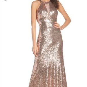 Morgan and co rose gold sequin dress